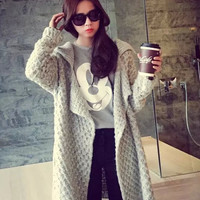 Long-Sleeve Notched Collar Long Knit Sweater