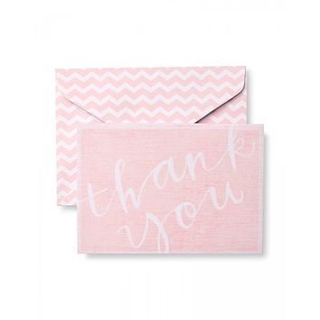 Painterly Pink Chevron Thank You Cards