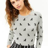 Poodle Print Knit Sweater
