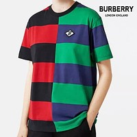 BURBERRY New Hot Sale Men Women Leisure Stripe Short Sleeve T-Shirt Top