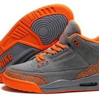 Hot Air Jordan 3 Retro Women Shoes Gray Orange