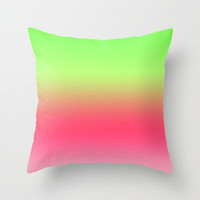 Watermelon Pink Green Gradient Throw Pillow by xjen94 | Society6