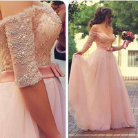 Princess Prom Dress with Sleeves, Prom Dresses, Graduation Party Dresses, Formal Dress For Teens, BPD0096
