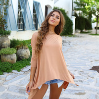 Iced Coffee Piko 3/4 Sleeve Handkerchief Top
