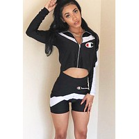Champion stitching letter print sports two-piece suit Black
