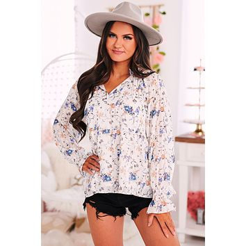 A True Lady Floral Print Top (Ivory)