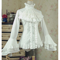 Women white shirt Vintage Victorian Bandage shirt Ladies gothic swallowtail blouse lolita costume