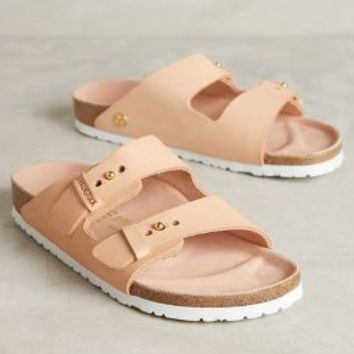 Birkenstock Arizona Slides in Powder Leather Size: