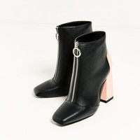 CONTRAST HEEL ANKLE BOOTS DETAILS