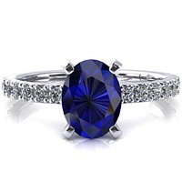 Nefili Oval Blue Sapphire 4 Prong 5/8 Eternity Diamond French Pave Engagement Ring