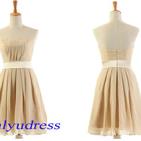 strapless bridesmaid dress with ribbon, nude bridesmaid dress on sale, new arrival bridesmaid dress, short bridesmaid dress  5110