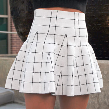 Gridline Knit Skirt