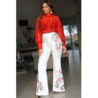 Harper Flower Print White Bell Bottom Pants