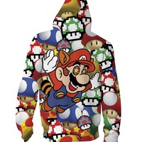 Mario on Shrooms Zip-Up Hoodie