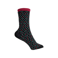 Holly Berries and Dots Crew Socks in Black