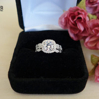 3 Band 1.25 Carat Halo Wedding Set, Vintage Inspired Bridal Rings, Flawless Man Made Diamonds, Art Deco, Engagement Rings, Sterling Silver