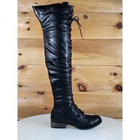 C & C Maggy Black Leatherette Lace Up Flat OTK Riding Military Style Boots