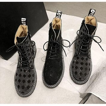 Women Fashion Rhinestone Printed Lace-Up Ankle Boots