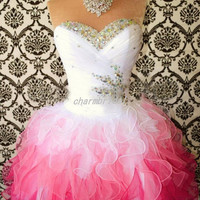 White pink homecoming dress / Multi-Color Short Mini corset prom dress / sweetheart neck cocktail dress / ball gown custom color and size