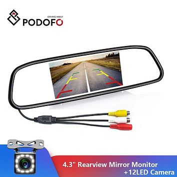 "alletronics Specials  4.3"" Car Rearview Mirror Monitor Auto Parking System + 12 LED Backup Reverse Camera Car Rear View Camera"