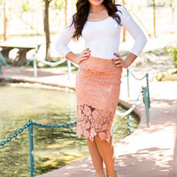 Laced with Beauty Pencil Skirt Apricot