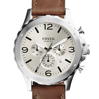 Fossil Mens Nate Stainless Steel Chronograph Watch