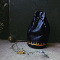 black rune bag • witch leather pouch - upcycled leather bag - spell bag - viking pouch - black medicine pouch