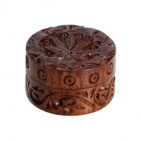 Rosewood Herb Grinder - Carved Pot Leaf Lid - 2-part - 35mm wide