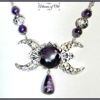 Amethyst Gemstone Necklace Crescent Moon