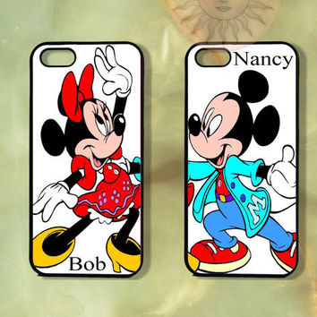 Custom Mickey and Minnie Mouse Couple Case-iPhone 5, iphone 4s, iphone 4 case, Samsung GS3-Silicone Rubber or Hard Plastic Case, Phone cover
