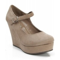 New Soda Romie-S Faux Suede Closed Almond Toe Mary Jane Platform Wedge TAUPE