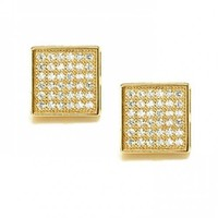 Bling Jewelry Men Gold Vermeil Micro Pave CZ Square Stud Earrings 7mm