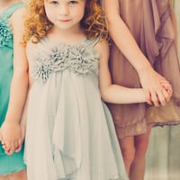Shimmering Silver Chiffon Occasion Dress with 2 Tier Layers & Chiffon Flowers (Girls Sizes 2T - 14)