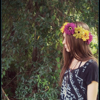 Flowercrown, flower, crown, floral, head, wreath, autumn, fall, cool, purple, green, boho, bohemian, coachella, festival, gypsy, halo, hair
