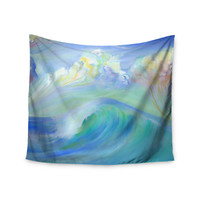 """Theresa Giolzetti """"Jelly Fish"""" Blue Teal Wall Tapestry"""