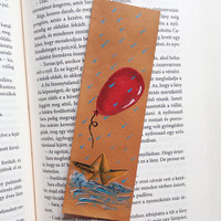 Pennywise bookmark / IT / Stephen King bookmark / We all float down here / Red balloon / Georgie / Horror bookmark / Mini art / Leather art