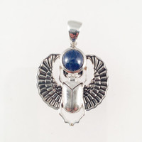 Sterling Silver Scarab Pendant with Blue Sapphire Gem Cabochon