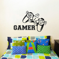 Wall Decal Vinyl Sticker Decals Art Home Decor Design Murals Game Controllers Gamer Gaming Video Game Boy Room Nursery Bedroom Dorm AN473