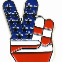 "Deluxe Hat or Lapel Pin 1"" Finger Peace Sign USA American Flag"