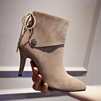 Fall Fashion Leather Rivets Pointed Ankle Martin Boots