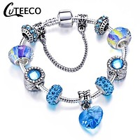 Blue Crystal Beads and Heart Charm Bracelet Bangle For Women Crystal Beads Fit Most Brand Bracelets Jewelry