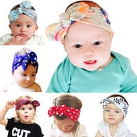 Cotton rabbit baby girls turban headband Soft Cotton Bow Hairband Stretch Knot Head Wrap Infant Hairband Accessories 1pct HB512