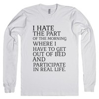 I Hate The Part-Unisex White T-Shirt
