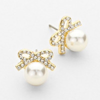 Pearl Bow Stud Earrings Gold
