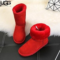 UGG style casual solid color men's and women's mid-top UGG boots