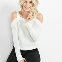 Cold Shoulder Shaker Knit Sweater from EXPRESS