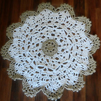 Small Crochet Doily Rug- Throw Rug- Area Rug- 2 toned multicolor lace rug, ecru white, wedding decor, housewares, crochet doily, nursery rug