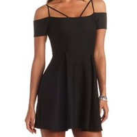 Geo-Quilted Strappy Off-the-Shoulder Skater Dress - Black