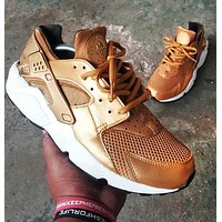 NIKE AIR HUARACHE Tide brand classic wild sports shoes gold