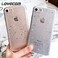 LOVECOM Bling Glitter Transparent Soft TPU Phone Case For iPhone 5 5S SE 6 6S 7 Plus Sparkling Stars Clear Phone Back Case Gift